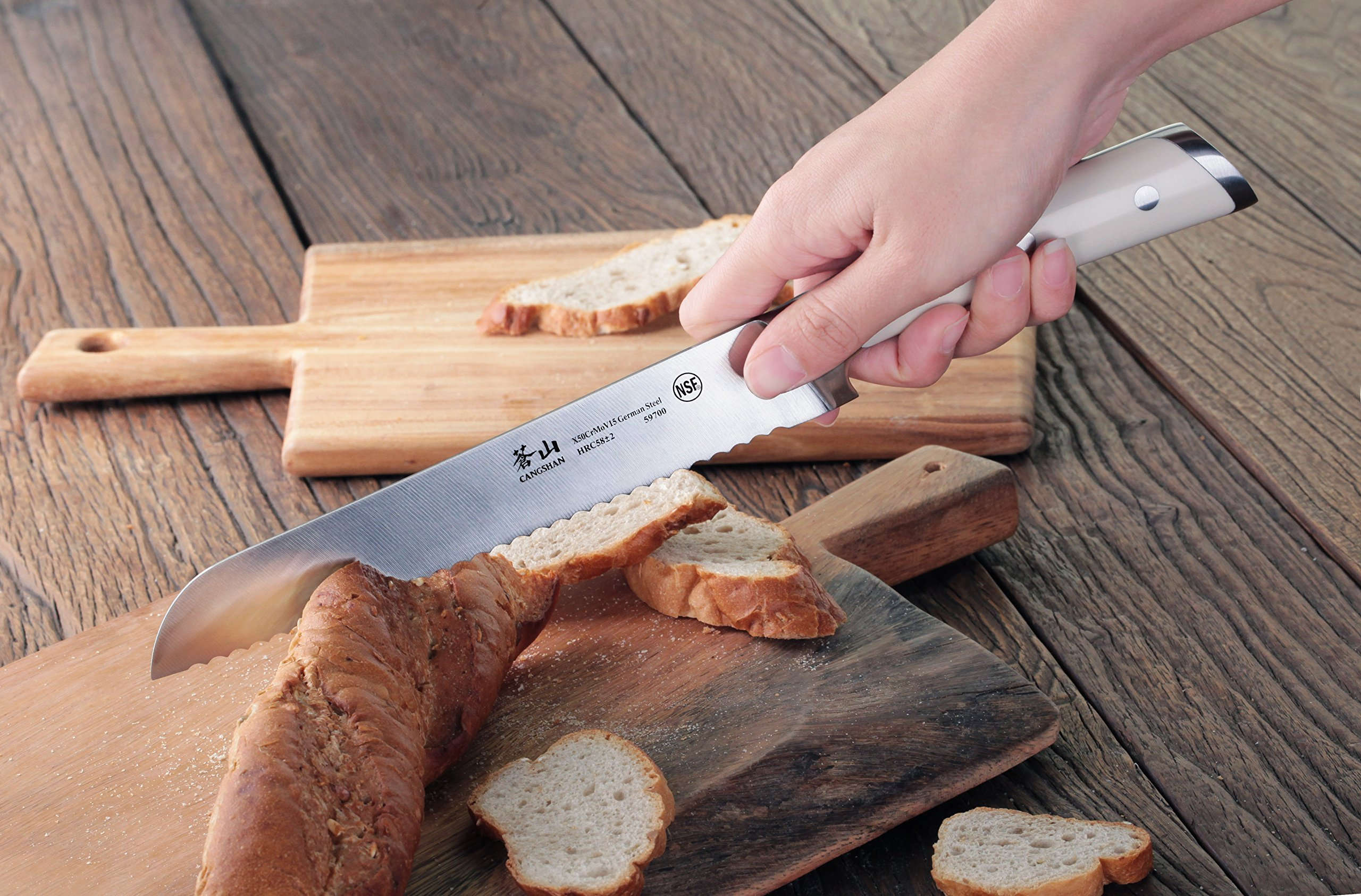 Cangshan S1 Series 59700 German Steel Forged Bread Knife, 8-Inch 6 Patent Pending Design knives that focuses on ergonomics handle with unique creme color Well balanced 5.5-inch handle and 8 blade X50Cr15MoV German Steel with HRC 58 +/- 2 on the Rockwell Hardness Scale