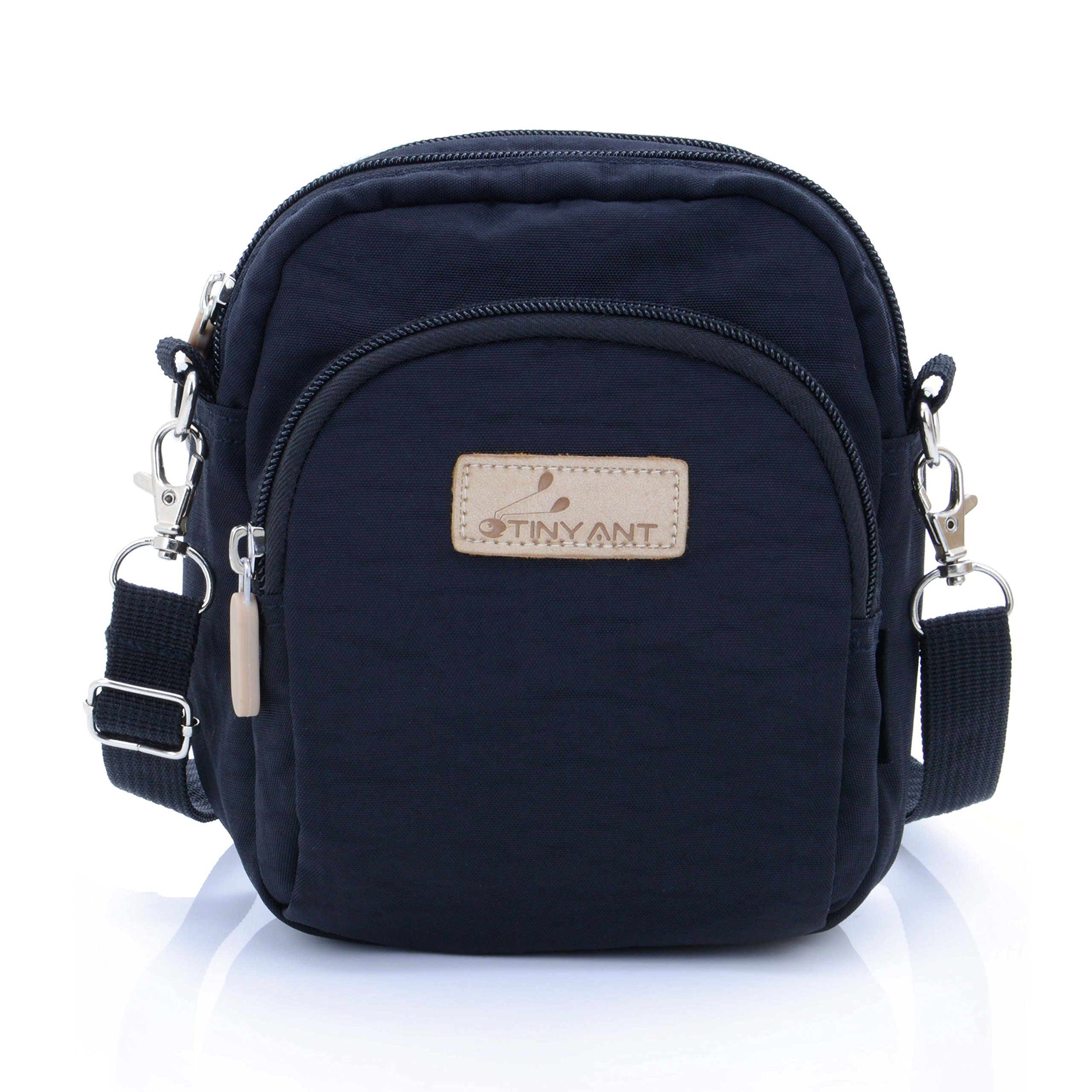 Women's 3 Layers Wristlet Purse Zipped Cell Phone Clutch Crossbody Handbags(Waist/Shoulder Bag-Black)