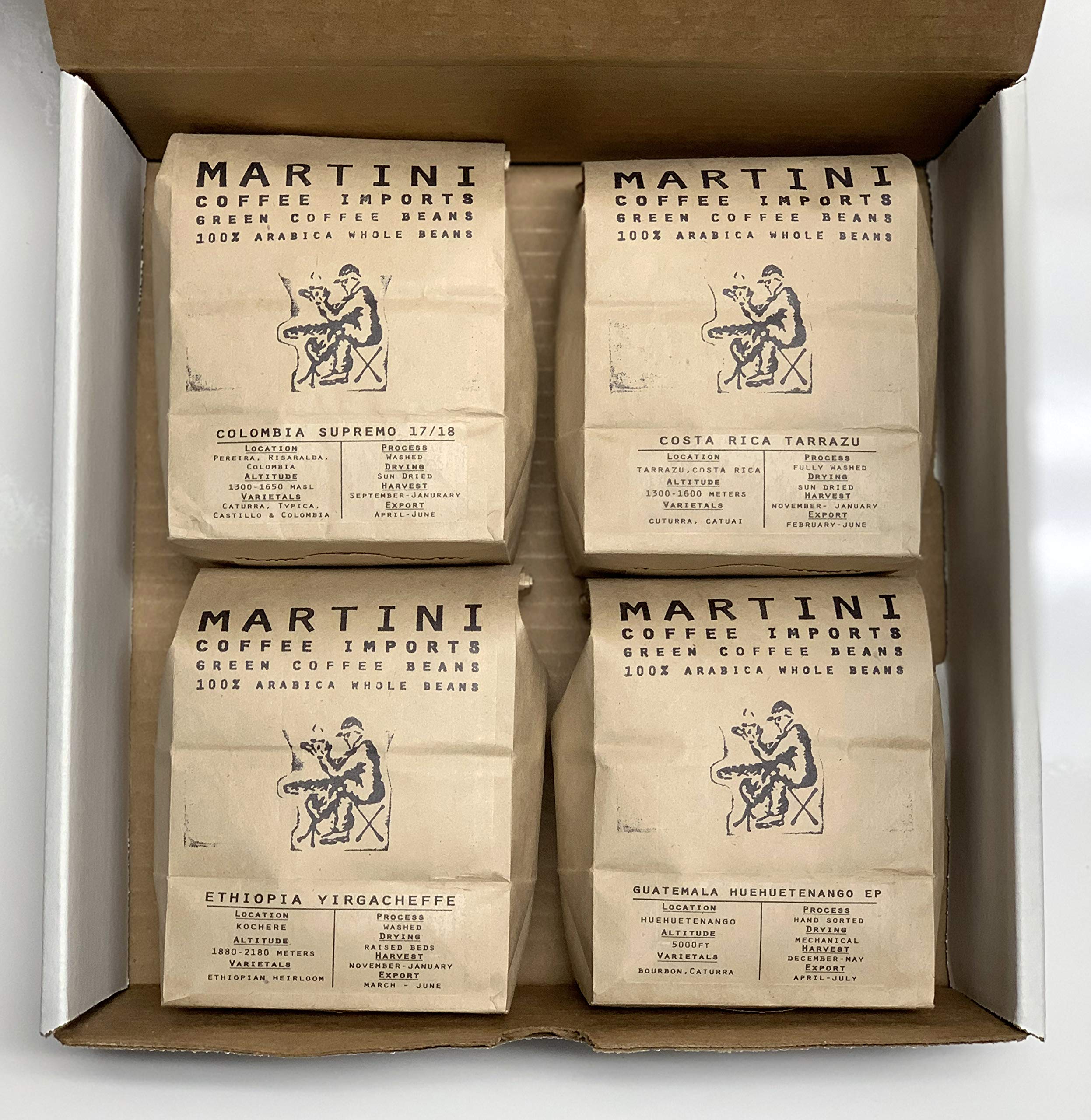 Unroasted Green Coffee Bean Sampler Pack - 4LBS - 100% raw arabica coffee beans - COLOMBIA, ETHIOPIA, GUATEMALA, COSTA RICA, BRAZIL by Martini Coffee Roasters