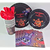 BashBox Five Nights at Freddy's Birthday Party Supplies Pack Including Cake & Lunch Plates, Cutlery, Cups & Napkins for 8 Guests