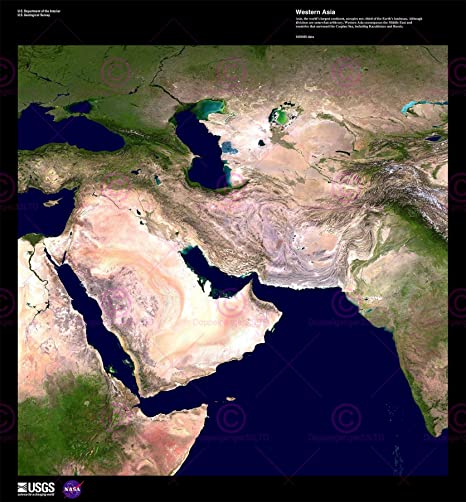 SCIENCE MAP SATELLITE MIDDLE EAST ARABIA DESERT REPLICA POSTER PRINT PAM1562