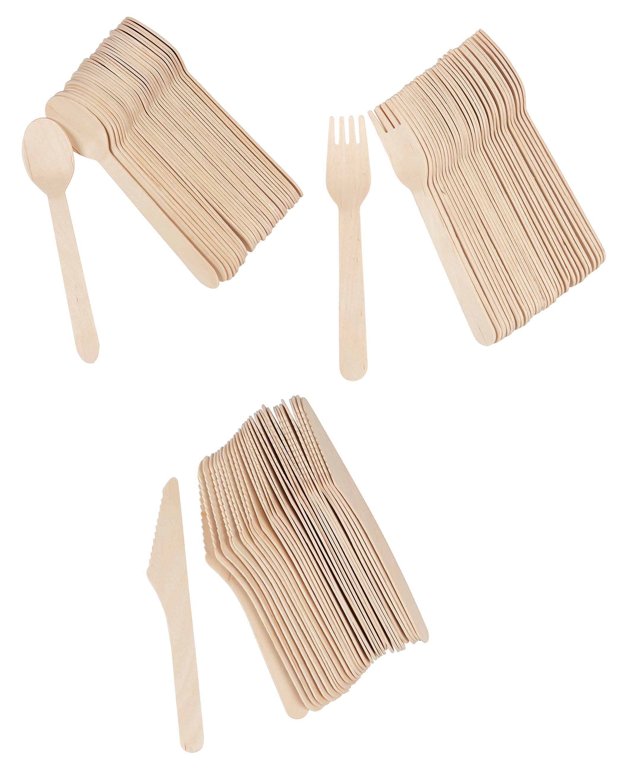 Juvale Disposable Cutlery - 400-Pack Wood Disposable Utensil Set, Knife, Fork Spoon Set, Biodegradable Eco-Friendly Natural Wood Party, Events, Holiday by Juvale (Image #8)