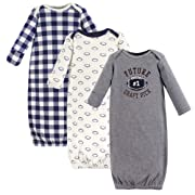 Hudson Baby Baby Cotton Gowns, Football 3-Pack, 0-6 Months