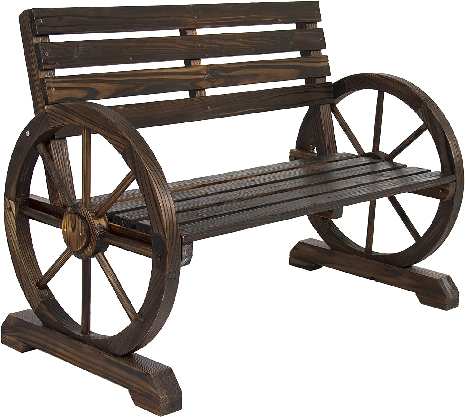Best Choice Products Rustic 2-Person Wooden Wagon Wheel Bench with Slatted Seat and Backrest, Brown