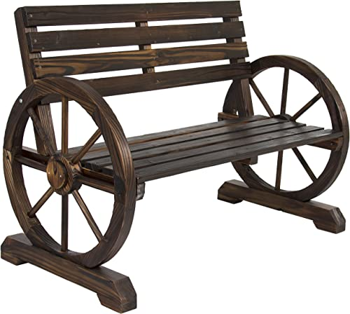 Best Choice Products Rustic 2-Person Wooden Wagon Wheel Bench w/Slatted Seat and Backrest