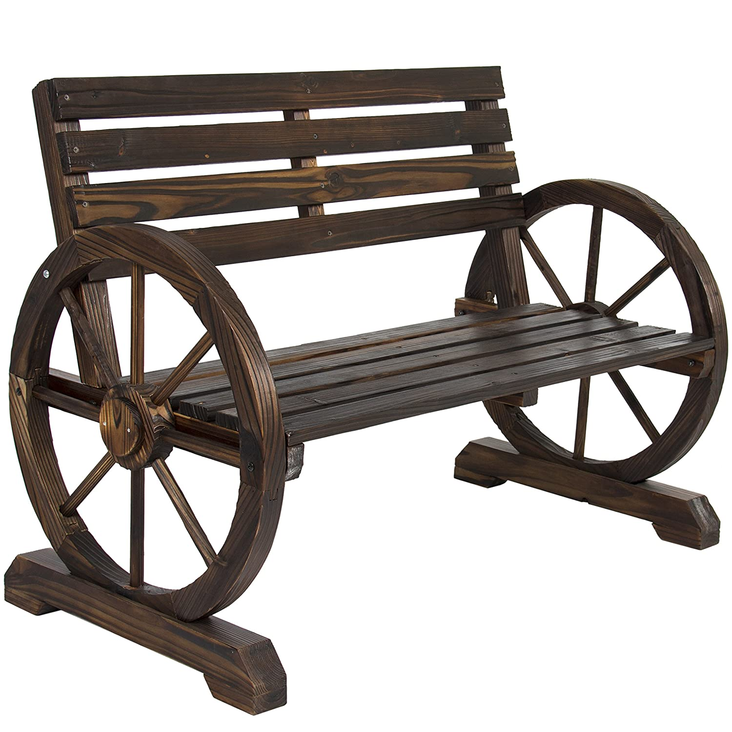 Amazon Com Best Choice Products Patio Garden Wooden Wagon Wheel