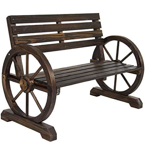 Prime Best Choice Products Rustic 2 Person Wooden Wagon Wheel Bench With Slatted Seat And Backrest Brown Unemploymentrelief Wooden Chair Designs For Living Room Unemploymentrelieforg
