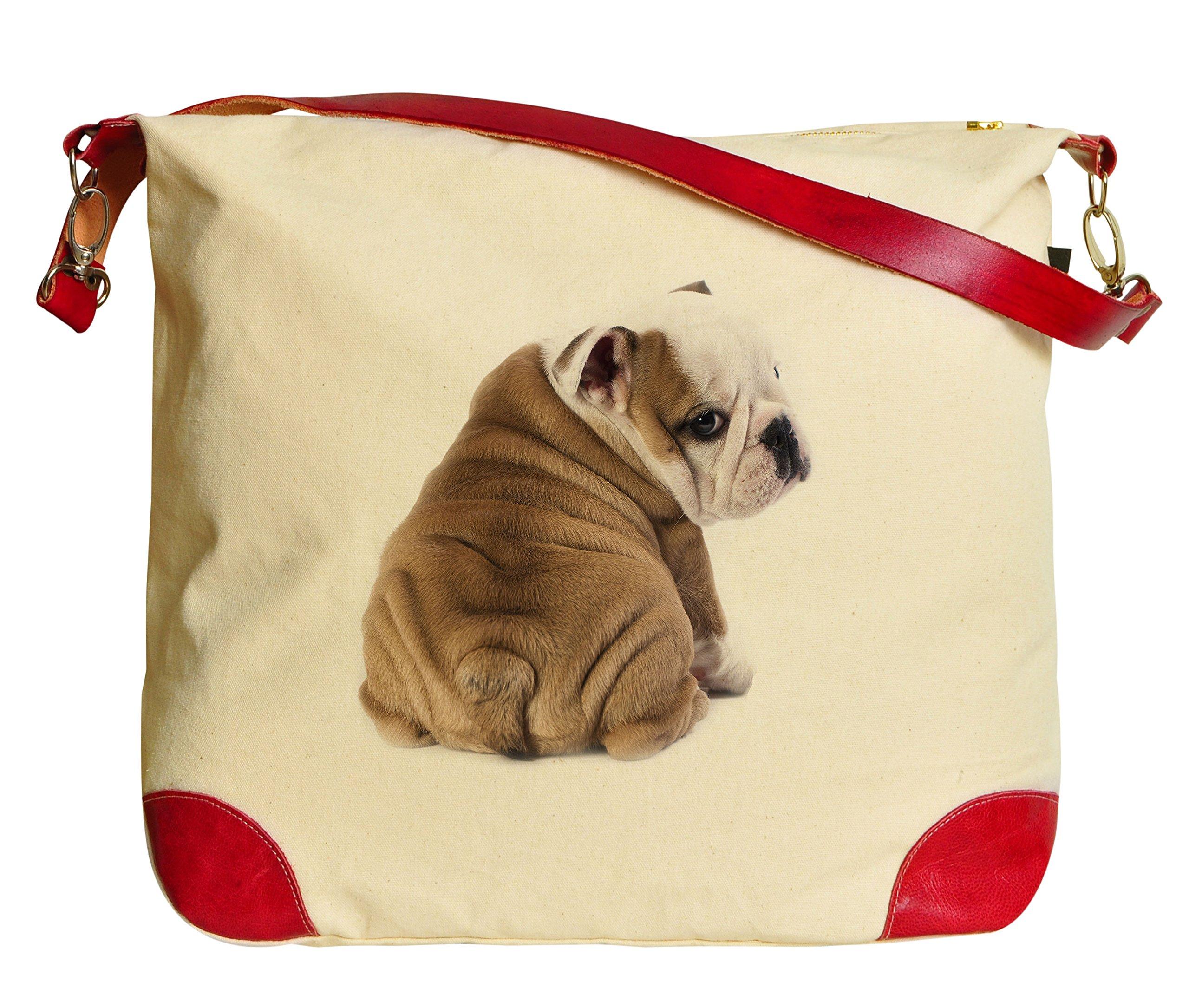 English Bulldog Puppy Beige Printed Canvas Tote Bag Shoulder Bag WAS_33
