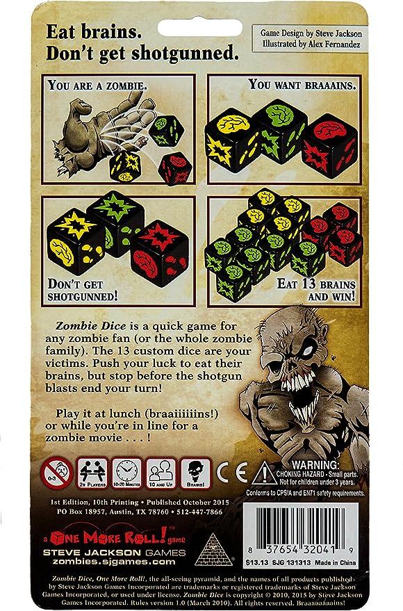 Edge Entertainment - Dados Zombies, Juego de Mesa (EDGSJ02) (versión en inglés): Amazon.es: Juguetes y juegos