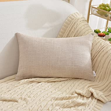 NATUS WEAVER Decorative Blend Linen Throw Pillow Cover Woolen Hand Feel Oblong Cushion Covers For Chair/Couch, 12 x 20 inch, Natural Linen