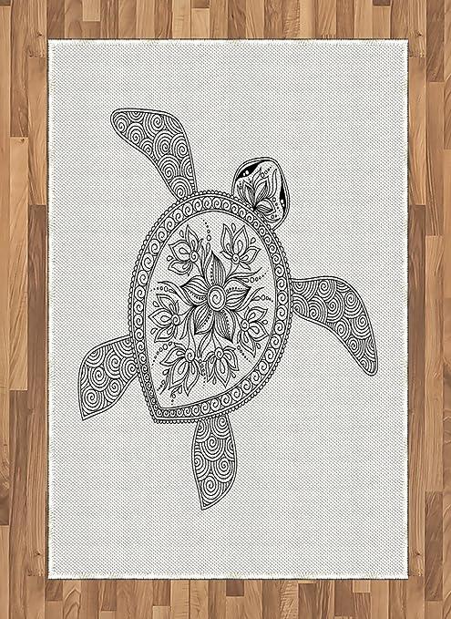 Alfombra de área de tortuga de Ambesonne, figura de tortuga ...