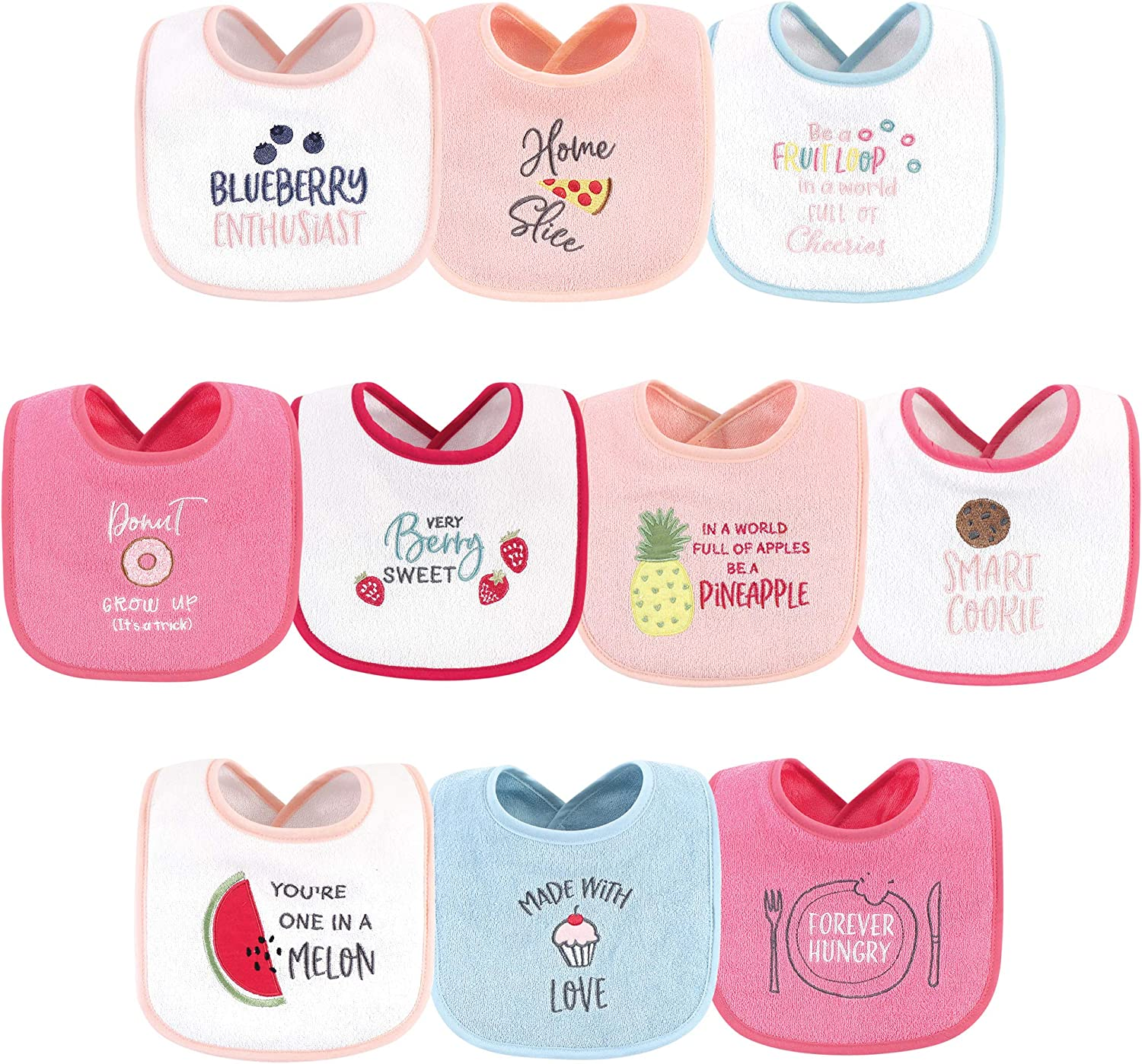 Hudson Baby Baby Cotton Terry Drooler Bibs with Fiber Filling