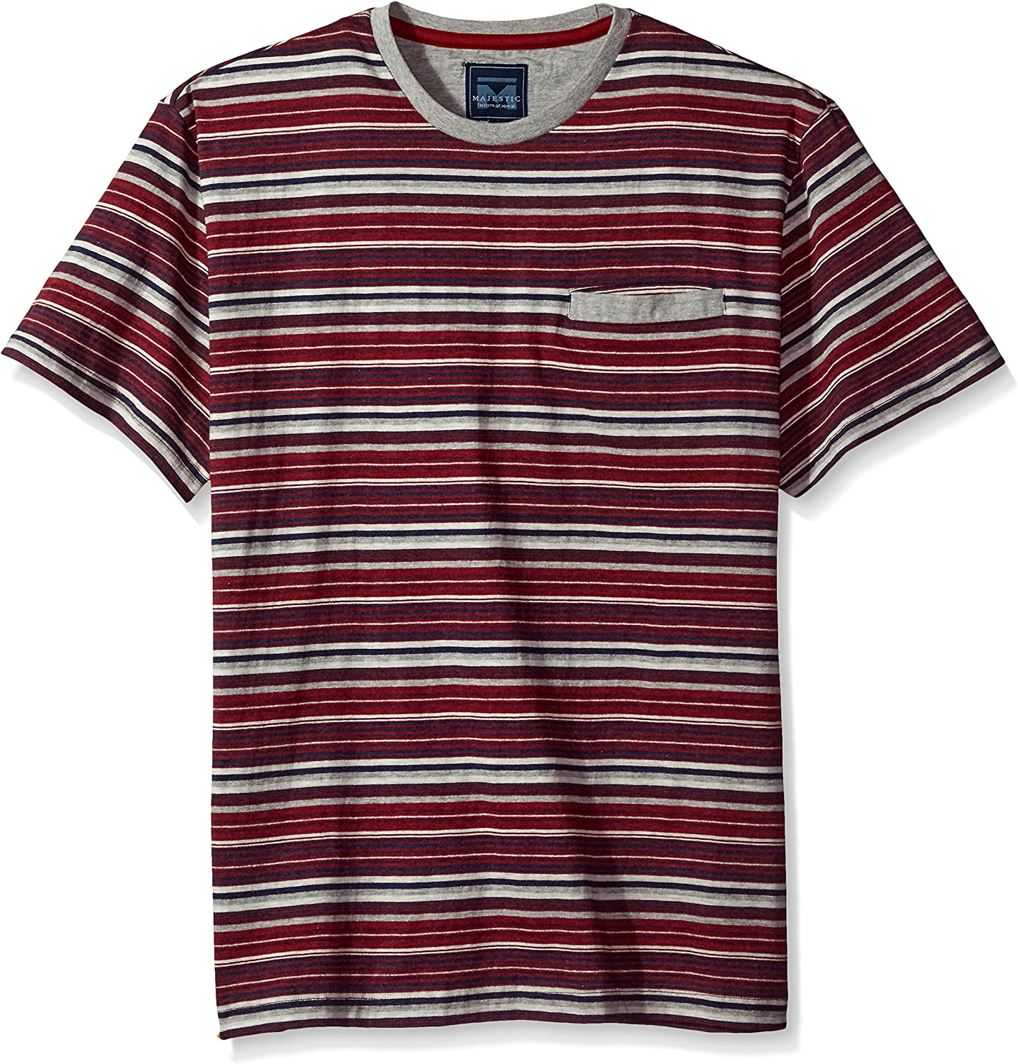 Majestic International Men's Big Daddy Jersey Knit Stripe Short Sleeve Crewneck Top