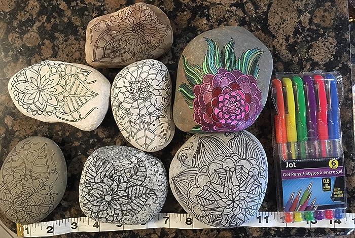Amazon Com 6 Extra Large Adult Coloring Rocks Zentangle