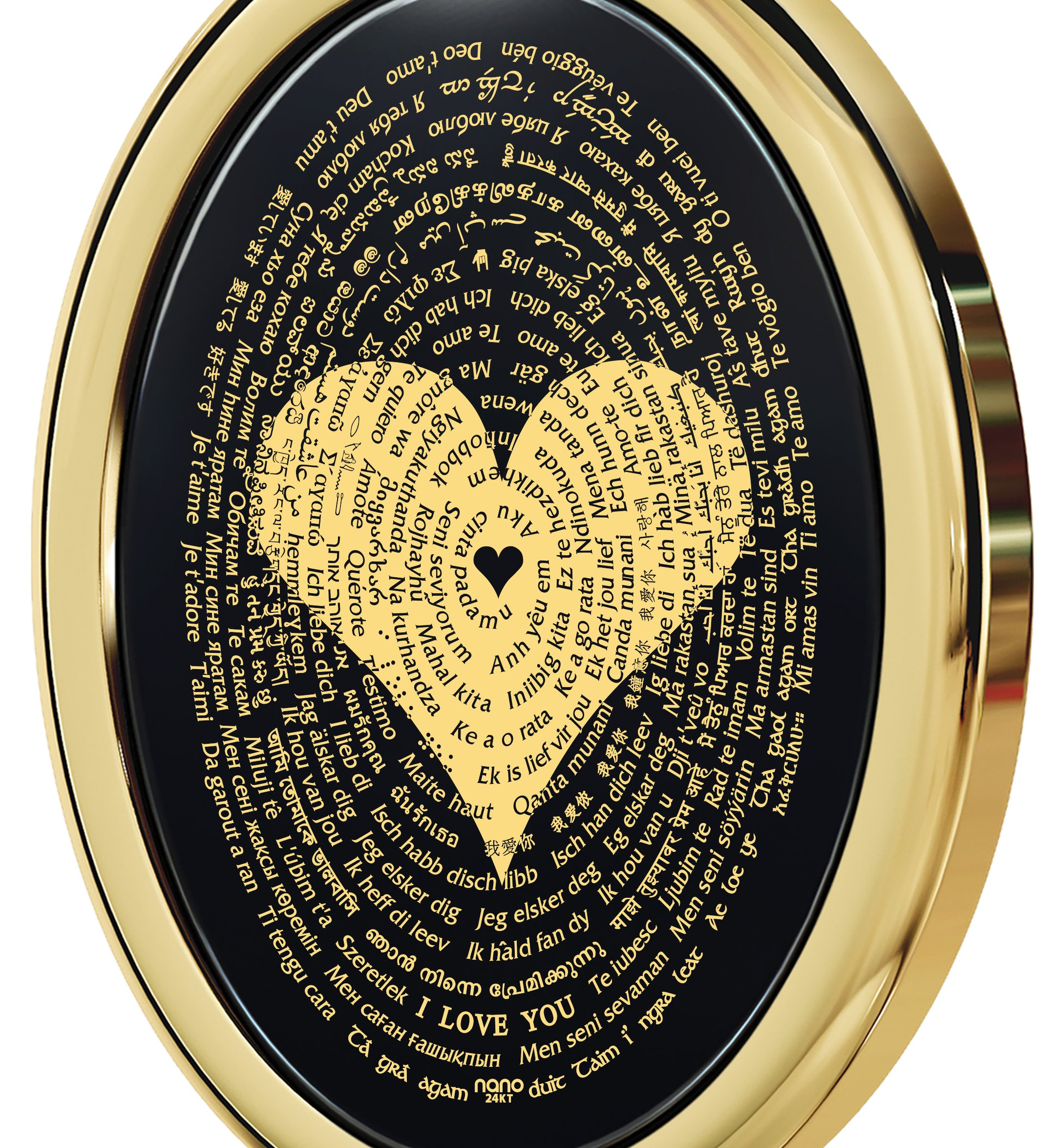 Gold Plated Love Necklace Pendant 24k Gold Inscribed I Love You in 120 Languages Onyx, 18'' Gold Filled by Nano Jewelry (Image #3)