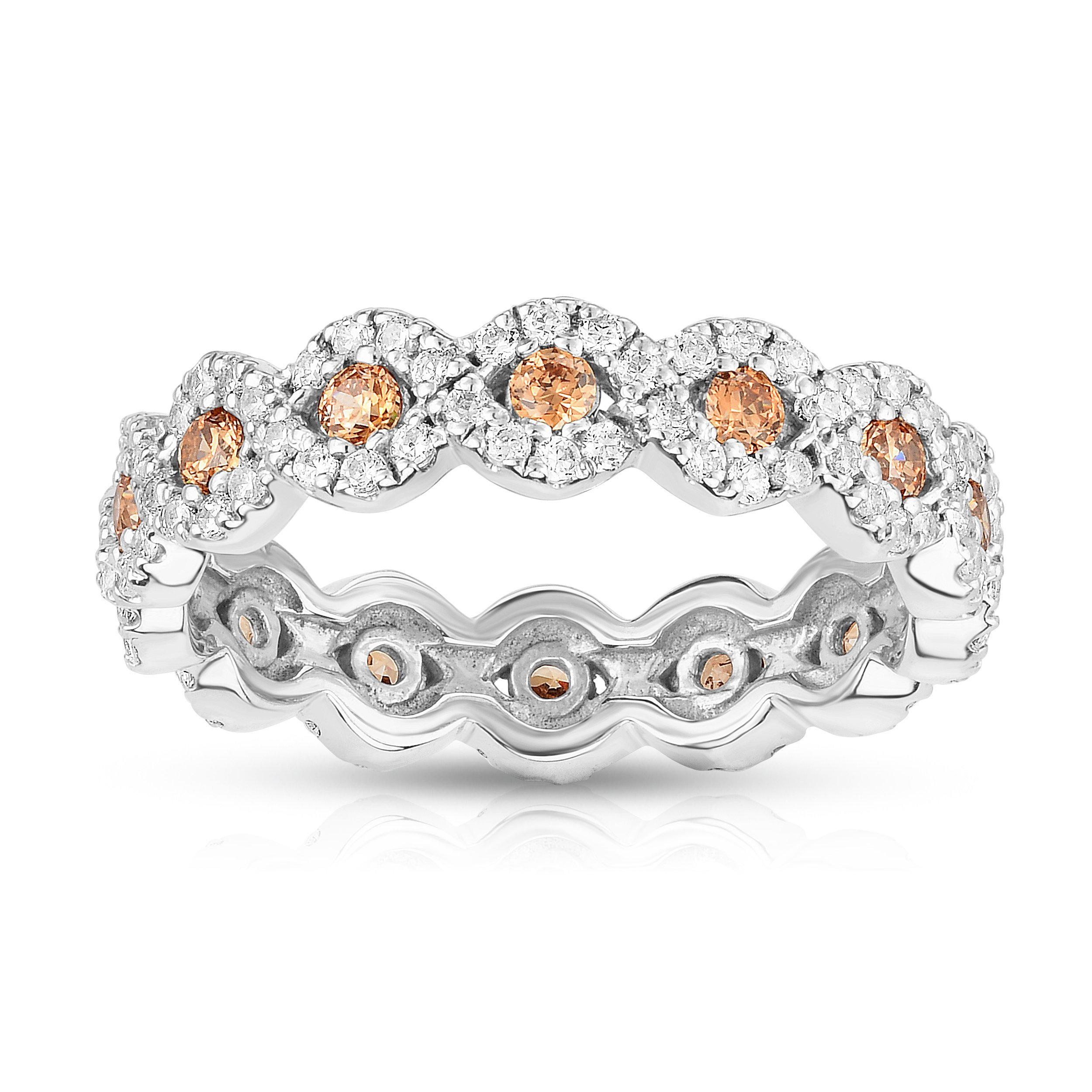 Noray Designs 14K White Gold Champagne Diamond (1.00 Ct, Brown/G-H Color, SI2-I1 Clarity) Eternity Wedding Ring