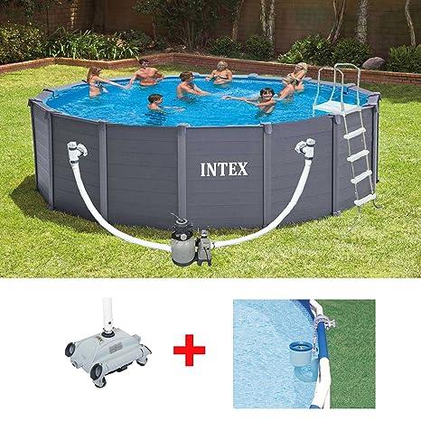 Oferta piscina fuoriterra Intex 28382 Graphite 478 x 124 cm + Robot + skimmer