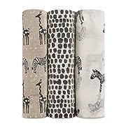 aden + anais Silky Soft Metallic Swaddle Baby Blanket, 100% Viscose Bamboo Muslin, Large 47 X 47 inch, 3 Pack, Sahara Motif