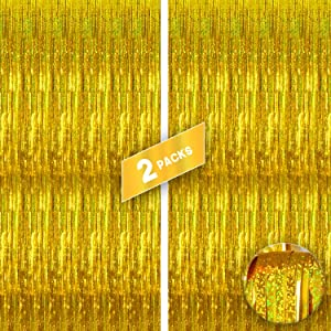 Xtra Large, Iridescent Gold Fringe Curtain - 3.2x10 Feet | Pack of 2 | Gold Foil Curtain for Gold Party Decorations | Metallic Holographic Streamers Backdrop for Birthday, New Year Eve, Bridal Shower