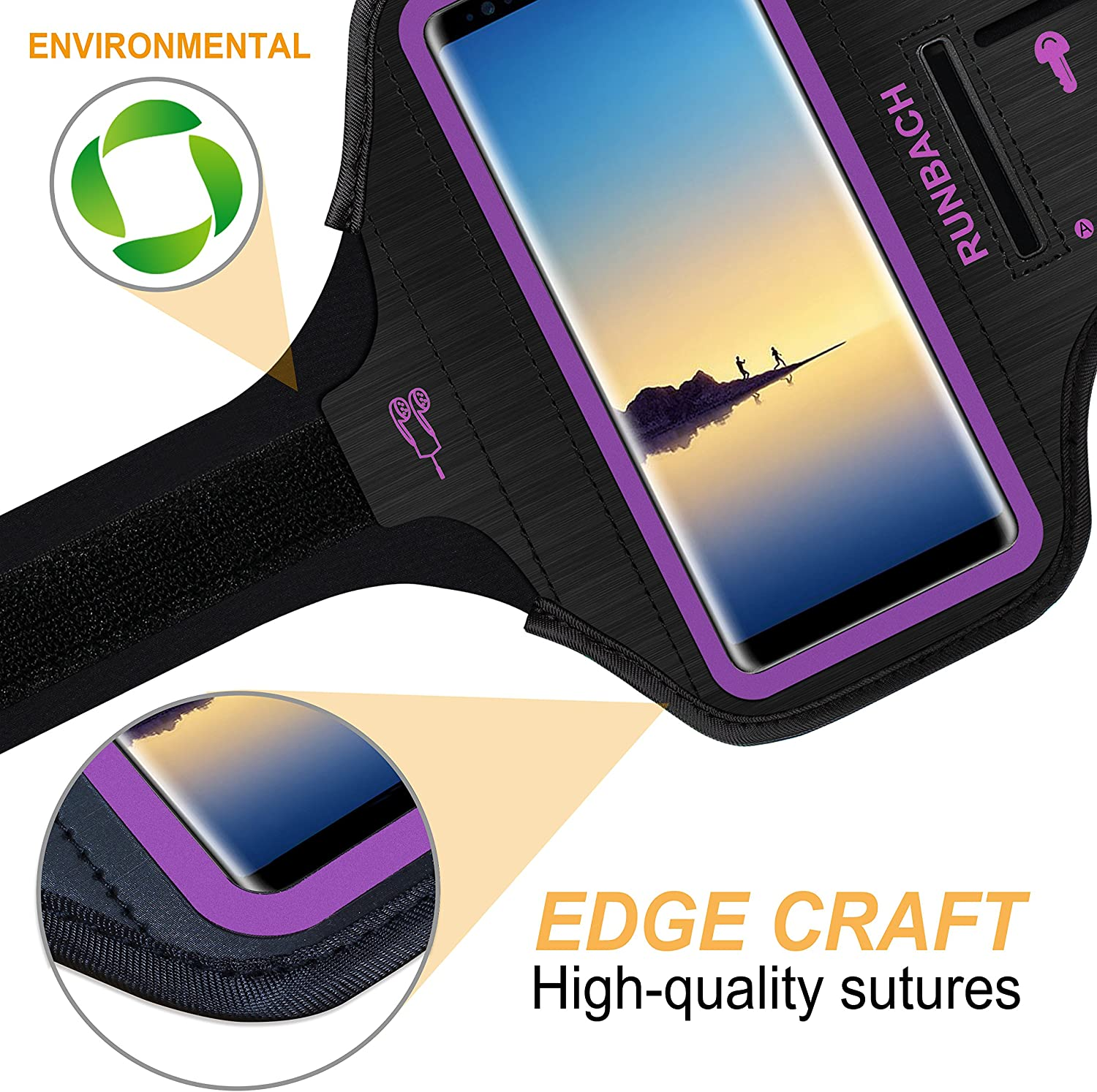 Sweatproof Running Exercise Gym Cellphone Sportband Bag with Fingerprint Touch//Key Holder and Card Slot for Samsung Galaxy Note 10+//Note 9//Note 8 Pink RUNBACH Galaxy Note 10+//9//8 Armband