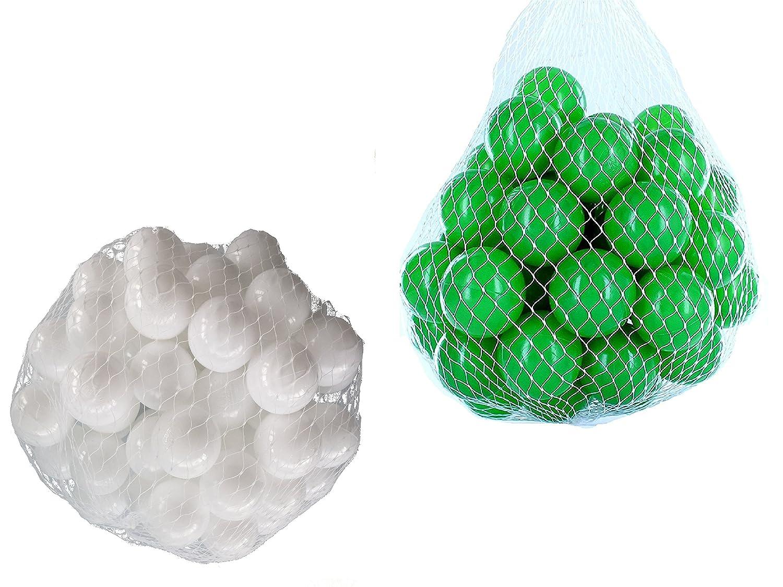 1000 Bälle für Bällebad gemischt mix mit grün und weiß