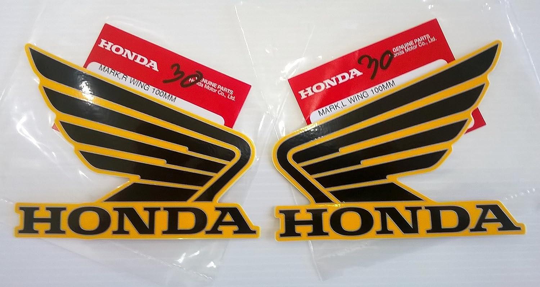 Honda Ailes Réservoir À Carburant Essence Réservoir Autocollants 2 x 100mm NOIR / ORANGE Gauche Et Droit 100% GENUINE