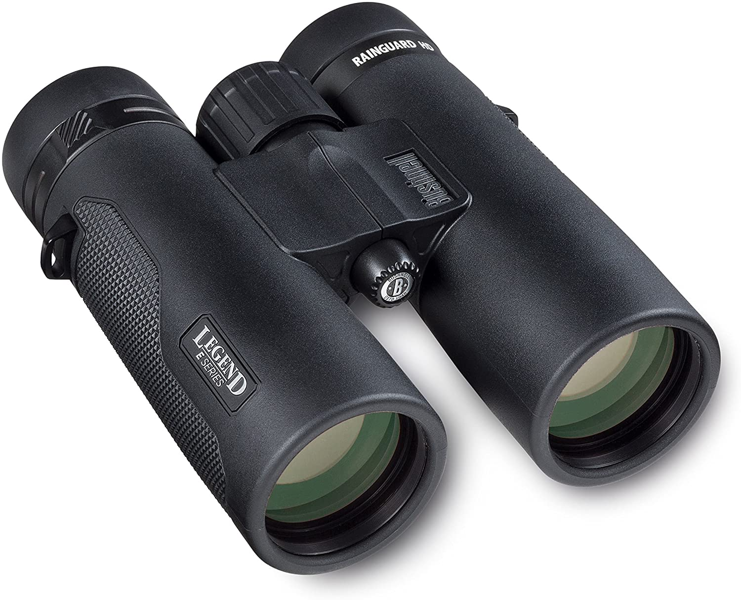 Photo of a pair of binoculars in black color, with the word 'legend' printed onto it near the right lens.