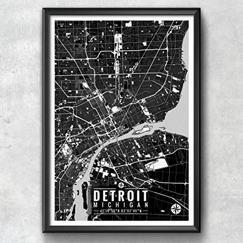 Amazon.com: Detroit Michigan Map with Coordinates, Detroit Wall Art ...