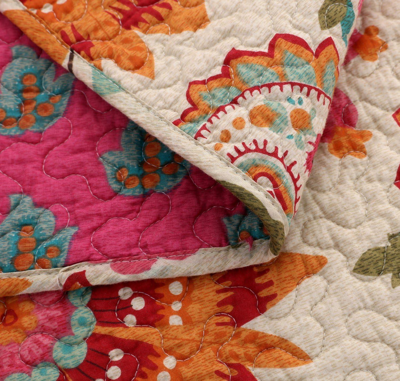 1, 180x220 cm Asvert Couvre Lit Matelass/é Courtepointe Parure de Lit Boutis Couette L/éger Coton Plaid Couverture