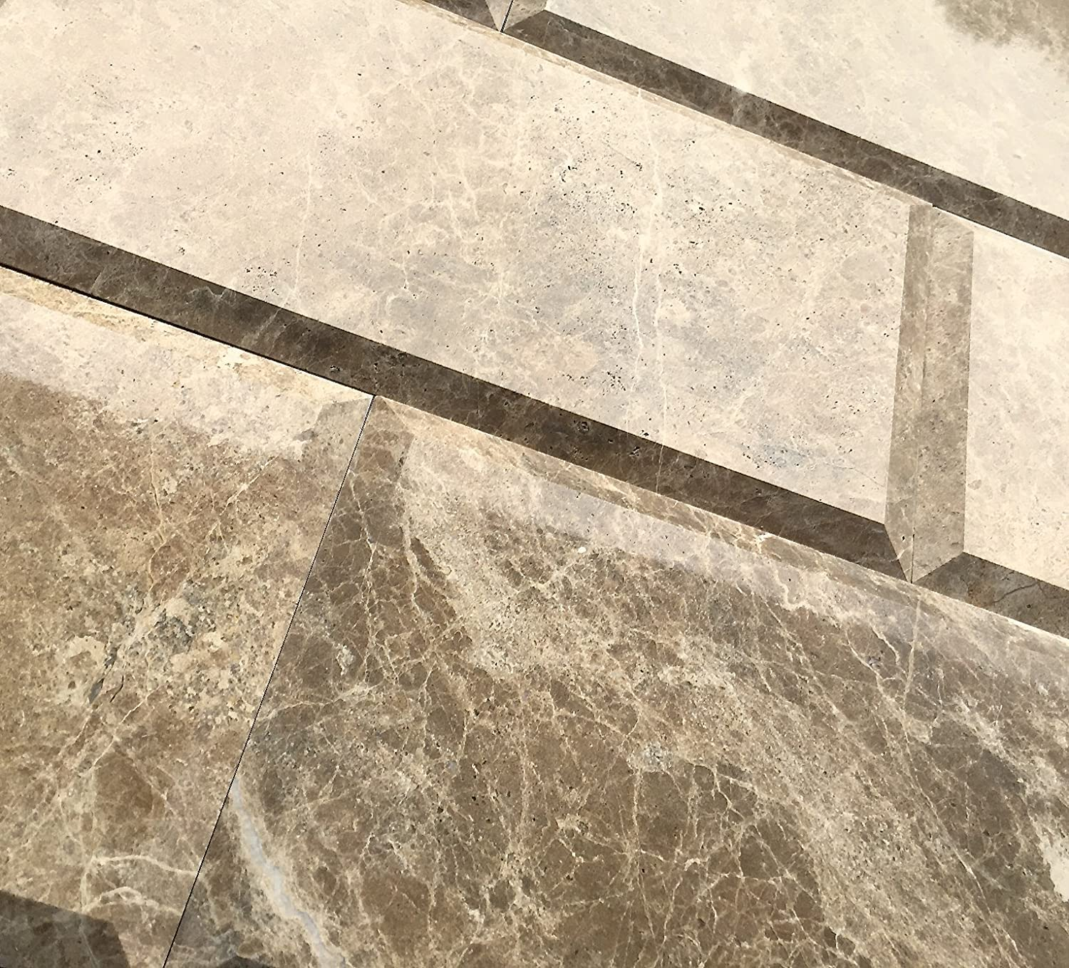 - 6x12 Emperador Light Brown Polished Wide Beveled Subway Marble