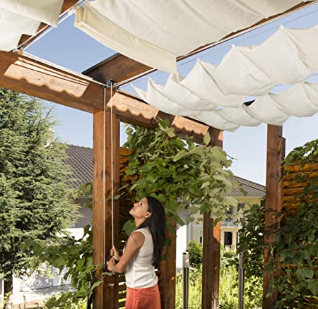 """Windhager Toldo Liso"""" Vela de protección Solar tecnología de tensado de Cables 420 x 140 cm, Ideal para pérgola o Invernadero, Blanco, 10872: Amazon.es: Jardín"""