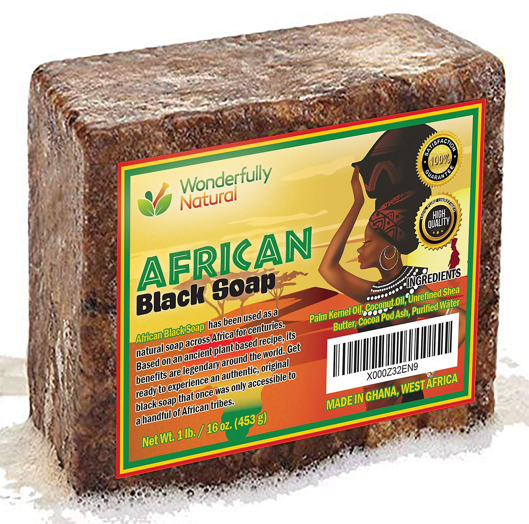#1 Organic African Black Soap   Acne Treatment & Dark Spot Remover   60 day Satisfaction Guarantee   For Face & Body 1lb bar