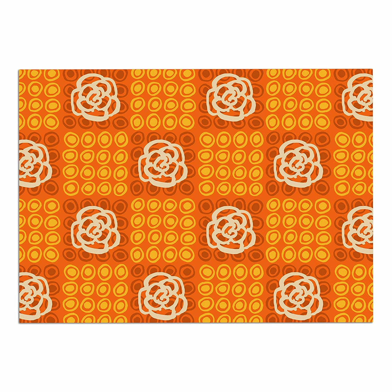 KESS InHouse Jane Smith Polka Dot pink  orange Pattern Dog Place Mat, 13  x 18