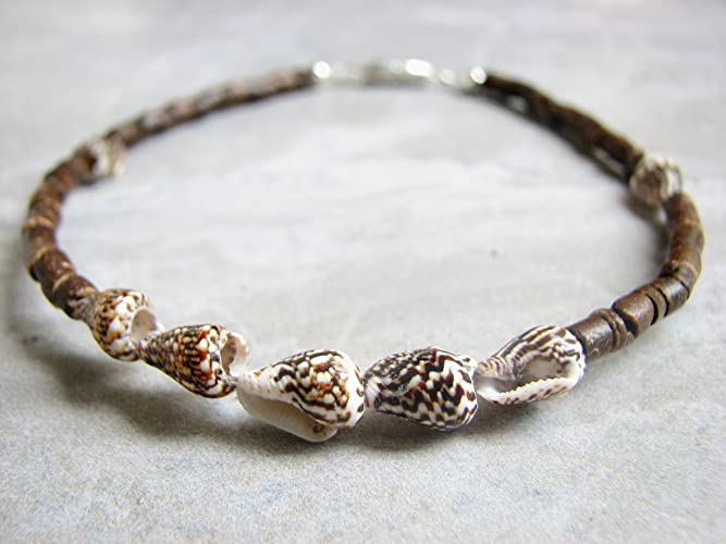 03dff9154 Image Unavailable. Image not available for. Color  Coconut and Sea Shell  Beach Ankle Bracelet
