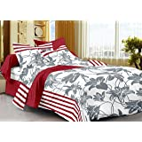 Story@Home Single Bedsheet for Single Bed With 1 Pillow Cover Combo Set - 100% Cotton - Spark Series, 208 TC, Floral Stripes (Red - White)