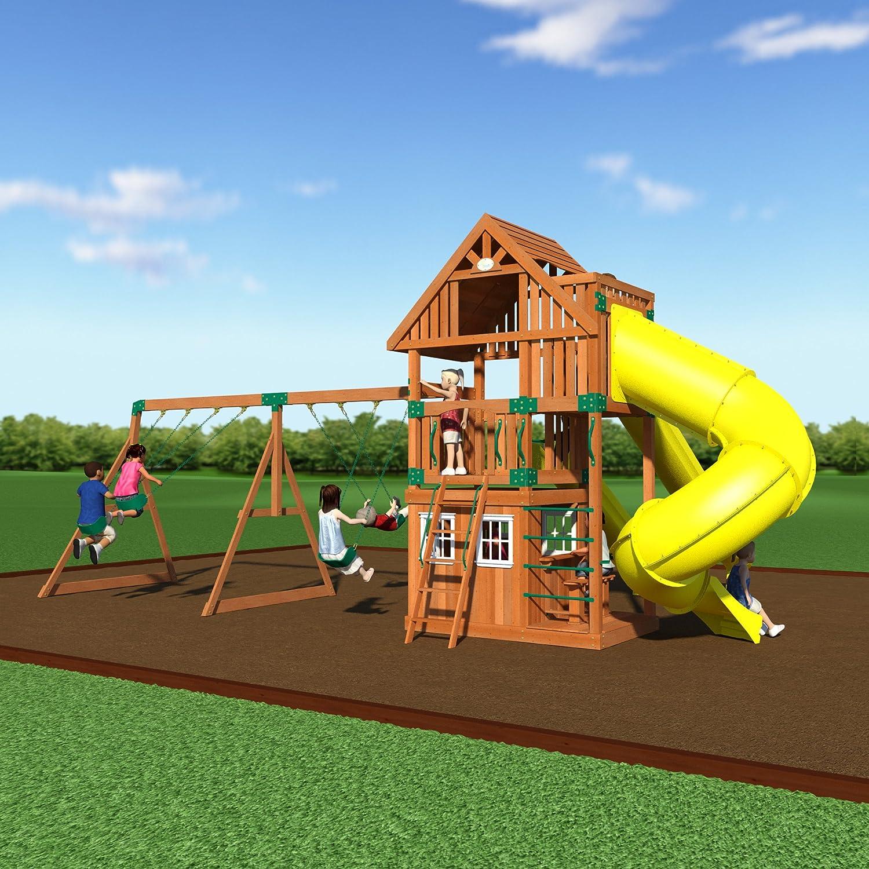 amazon com backyard discovery traverse all cedar wooden swing set