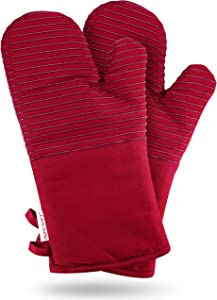AVACRAFT Oven Mitts Pair, Flexible, 100% Cotton with Unique Heat Resistant Food Grade Silicone, Thick Terry Cloth Interior, 500 F Heat Resistant (Red Oven Mitts)