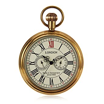 Steampunk Vintage Style Mens Hand Wind Mechanical Pocket Watch Pure Copper Case W/Chain reloj