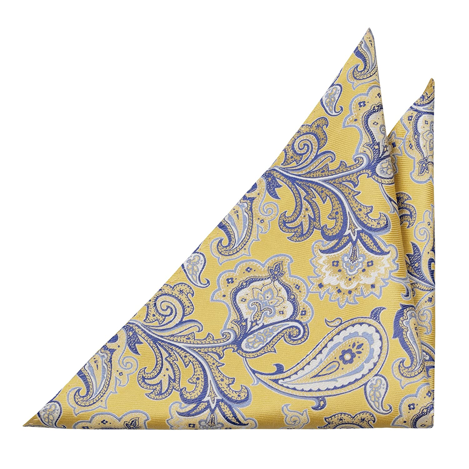 Notch Men's Silk Pocket Square - Big yellow and blue floral pattern, near paisley