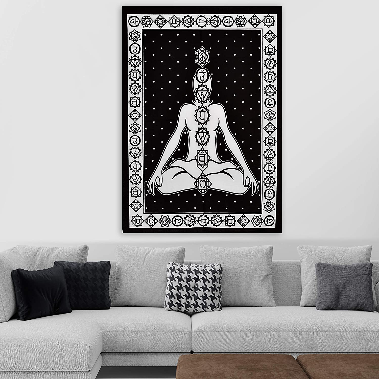 30X40 inches ANJANIYA Seven Chakra Yoga Meditation Studio Room Decorations Tie Dye Hippie Psychedelic Tapestry Poster 7 Chakras Tapestries Meditating Peace Wall Art Hanging Decor Black, Poster