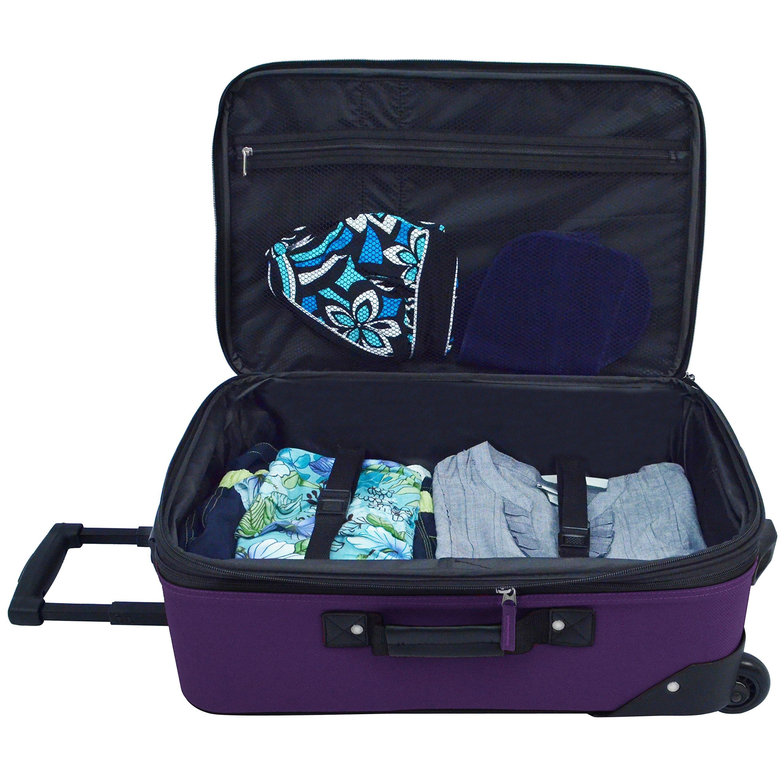 U.S. Traveler Rio 2-Piece Expandable Carry-On Luggage Set, Purple by U.S. Traveler