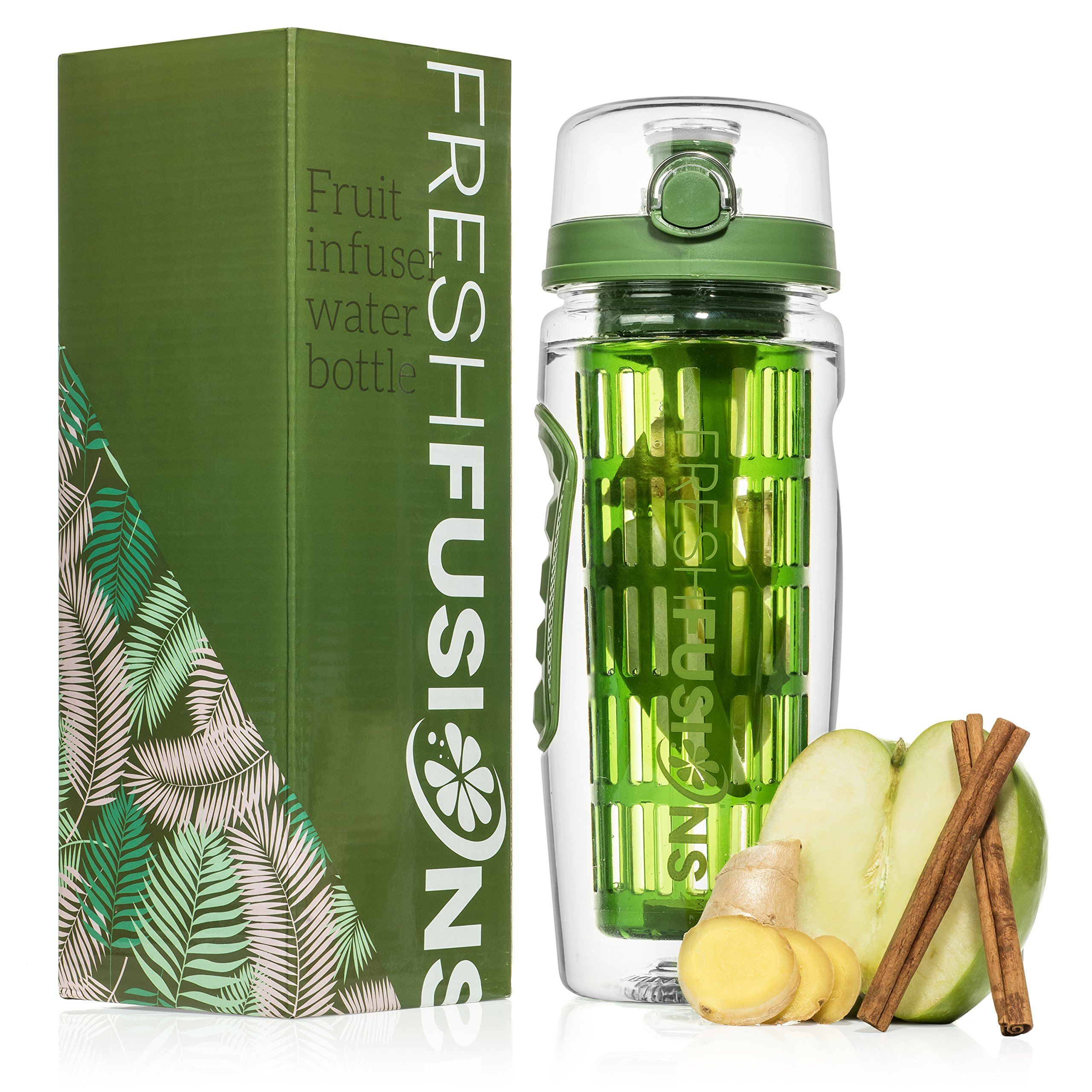 5f96fcd07f Fresh Fusions Fruit Infuser Water Bottle 32 oz - With Insulated Sleeve +  Healthy Recipe Ebook - Includes ...