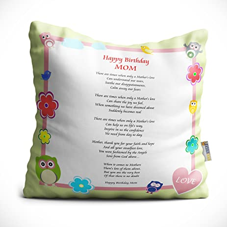 Rikki Knight Happy Birthday Mom Owl Whimsical Pastel Design Poem Microfiber  Throw Décor Pillow Cushion 16u0026quot