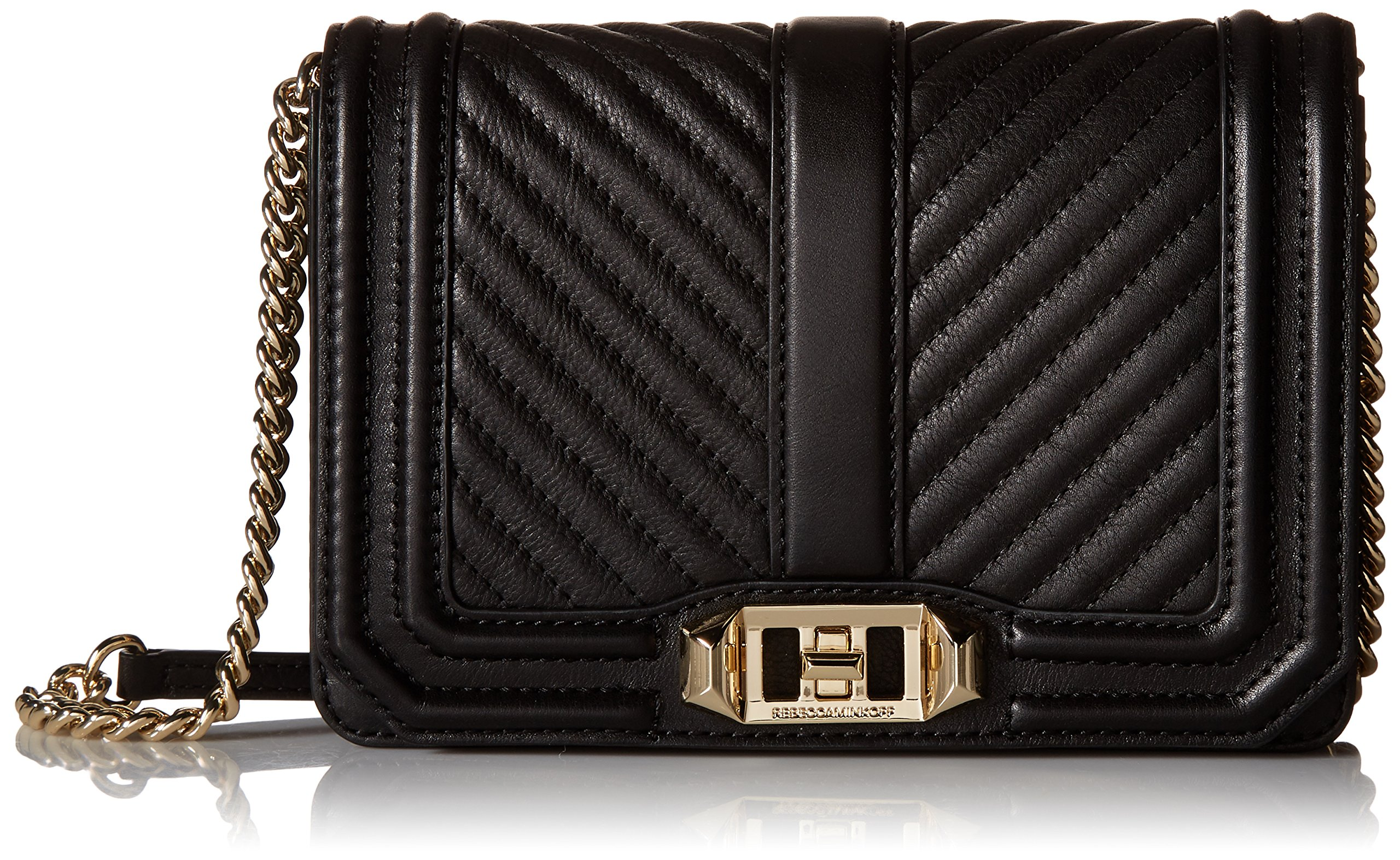Rebecca Minkoff Chevron Quilted Small Love Crossbody, Black