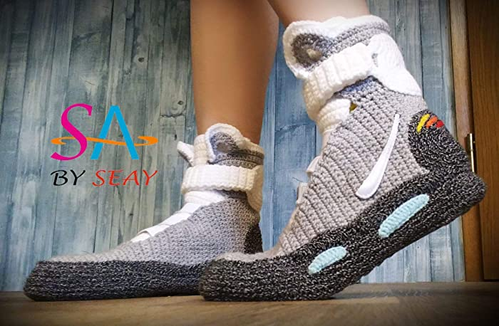 innovative design b102b cb2c5 Back to the Future Knitted Slippers, Crochet Knitted Home Men's Women's Air  Mag Custom Slippers, Cosplay Boots, Flying Shoes