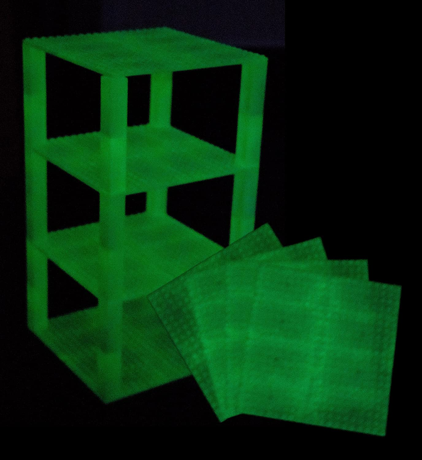 Classic Baseplates 6 x 6 Brik Tower by Strictly Briks | 100% Compatible with All Major Brands | Building Bricks for Towers and More | 4 Glow in The Dark Stackable Base Plates & 30 Stackers