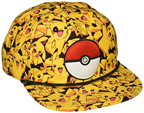 ed3a590e948 Image Unavailable. Image not available for. Color  bioWorld Pokemon Pikachu  All Over Print Snapback Cap