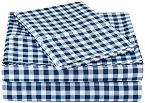 "AmazonBasics Lightweight Super Soft Easy Care Microfiber Sheet Set with 16"" Deep Pockets - Twin, Gingham Plaid"
