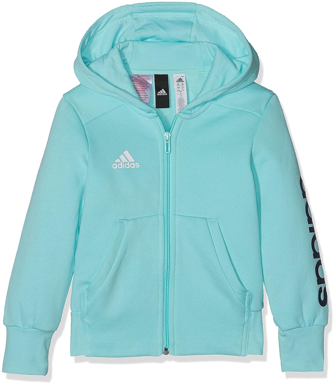 adidas Essentials 3 Stripes Mid Hoodie - Girls - Energy Aqua/Collegiate Navy/White - Age 5-6