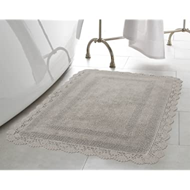 Laura Ashley Crochet Cotton 17x24/21x34 in. 2-Piece Bath Rug Set, Light Grey